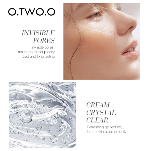 O.TWO.O Makeup Base Face Primer Gel Invisible Pore Light Oil-Free Makeup Finish No Creases Not Cakey Foundation Primer Cosmetic 6