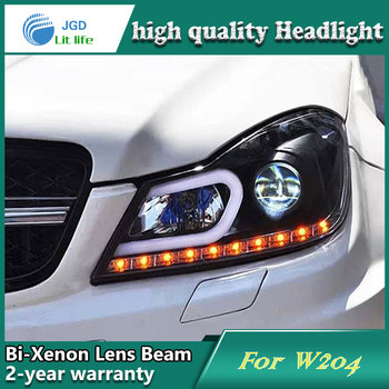 Car Styling Head Lamp case for Benz W204 2011-2013 Headlights LED Headlight DRL Lens Double Beam Bi-Xenon HID Accessories