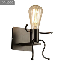 Artpad Industrical Loft Wall-Lamps Lovely Sit Robot Style Corridor Sconces Bedside TV Background Wall Led with E27 Edison Bulb