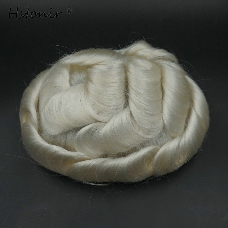 Hstonir Prosthesis Hair Silver Toupee Human Indian Remy Hair Hairpieces Maquiagem Base Men Silicon Toupee H079