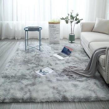 Dywany do salonu Nordic mieszany kolor dywan prosty nowoczesny długi zamsz sypialnia nocna środowiskowy antypoślizgowy dywan tanie i dobre opinie NATURAL KISS Modern Włókniny Rectangle Domu Dekoracyjne Wilton Hand Wash Mechanical Wash Modern simplicity Mixed color