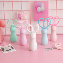 Safety-Scissors Kawaii Stationery Paper-Cutter Office-Supplies Round-Head Plastic