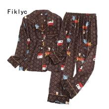 Fiklyc underwear beautiful women's sleep suits nightwear pajamas sets new arrival high quality M L XL XXL pyjamas sets