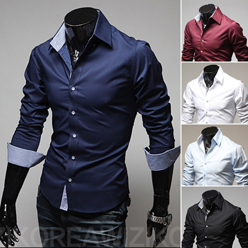 Hot Sale Men's Shirt Long Sleeve 2020 New Arrival Fashion Men  Solid Color Business Style Slim Fit Striped Casual Dress Shirt