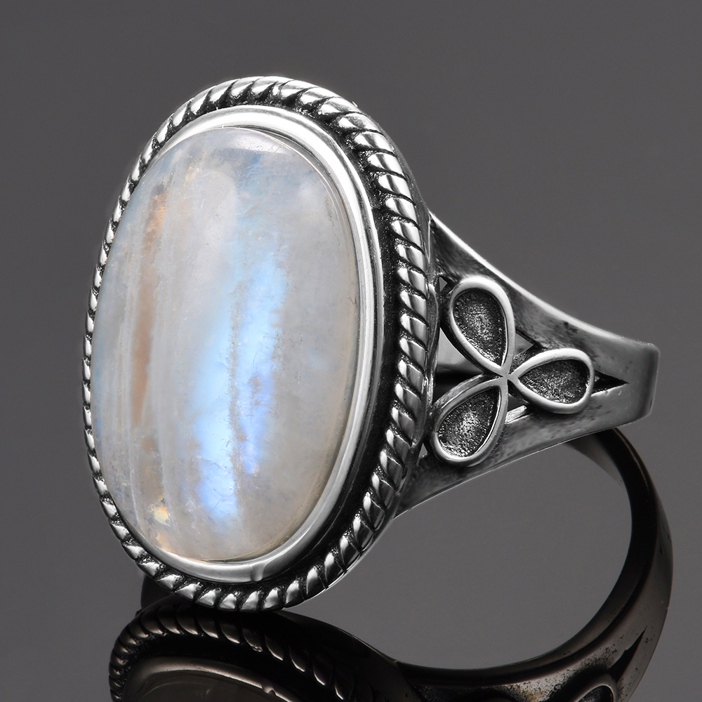 Natural Moonstone Rings for Women's Silver 925 Jewelry Vintage Party Rings With 11x17MM Big Oval Gemstone Gifts Wholesale