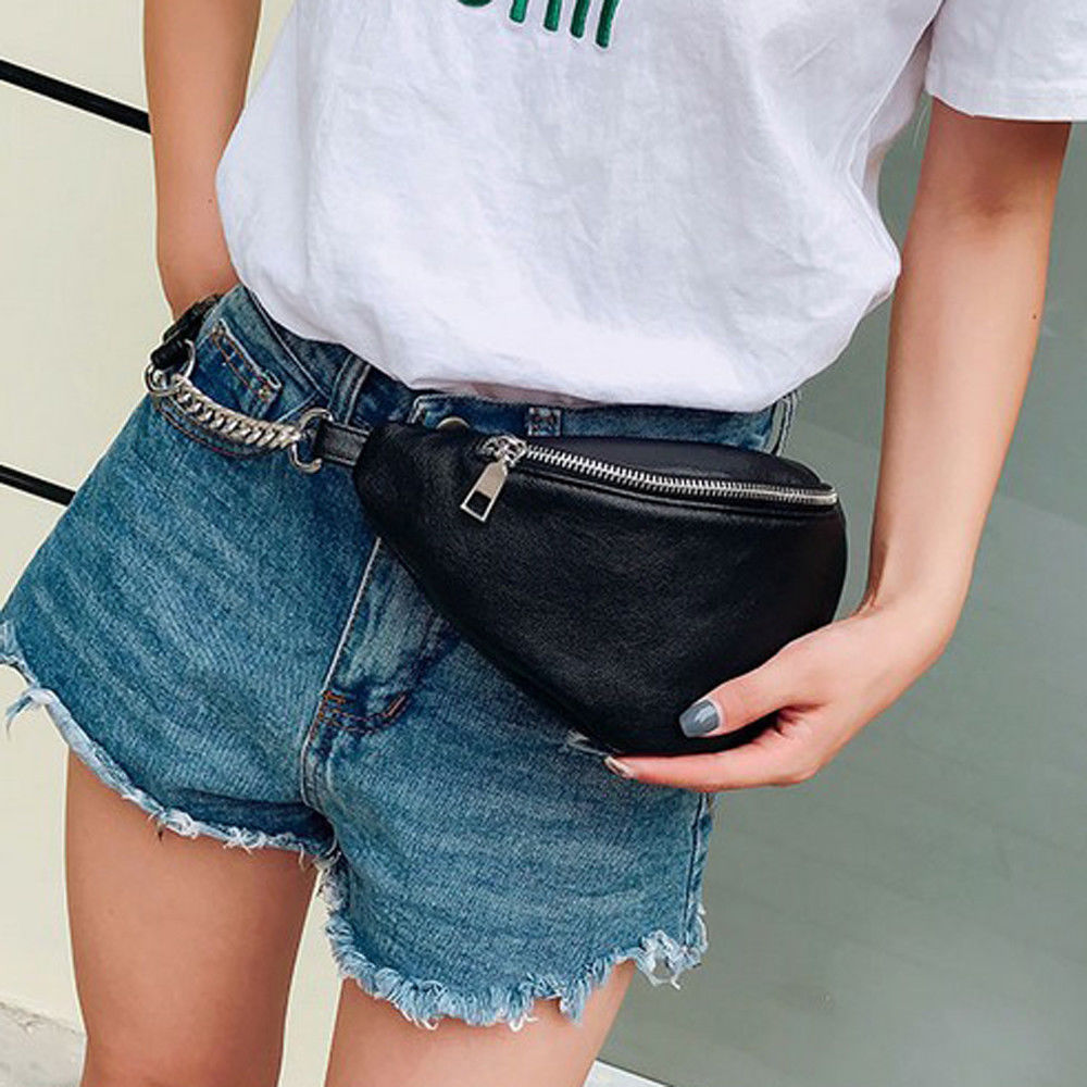 Womens Waist Bag Fanny Pack PU Bag Belt Purse Small Purse Phone Key Pouch White Black Waist Packs