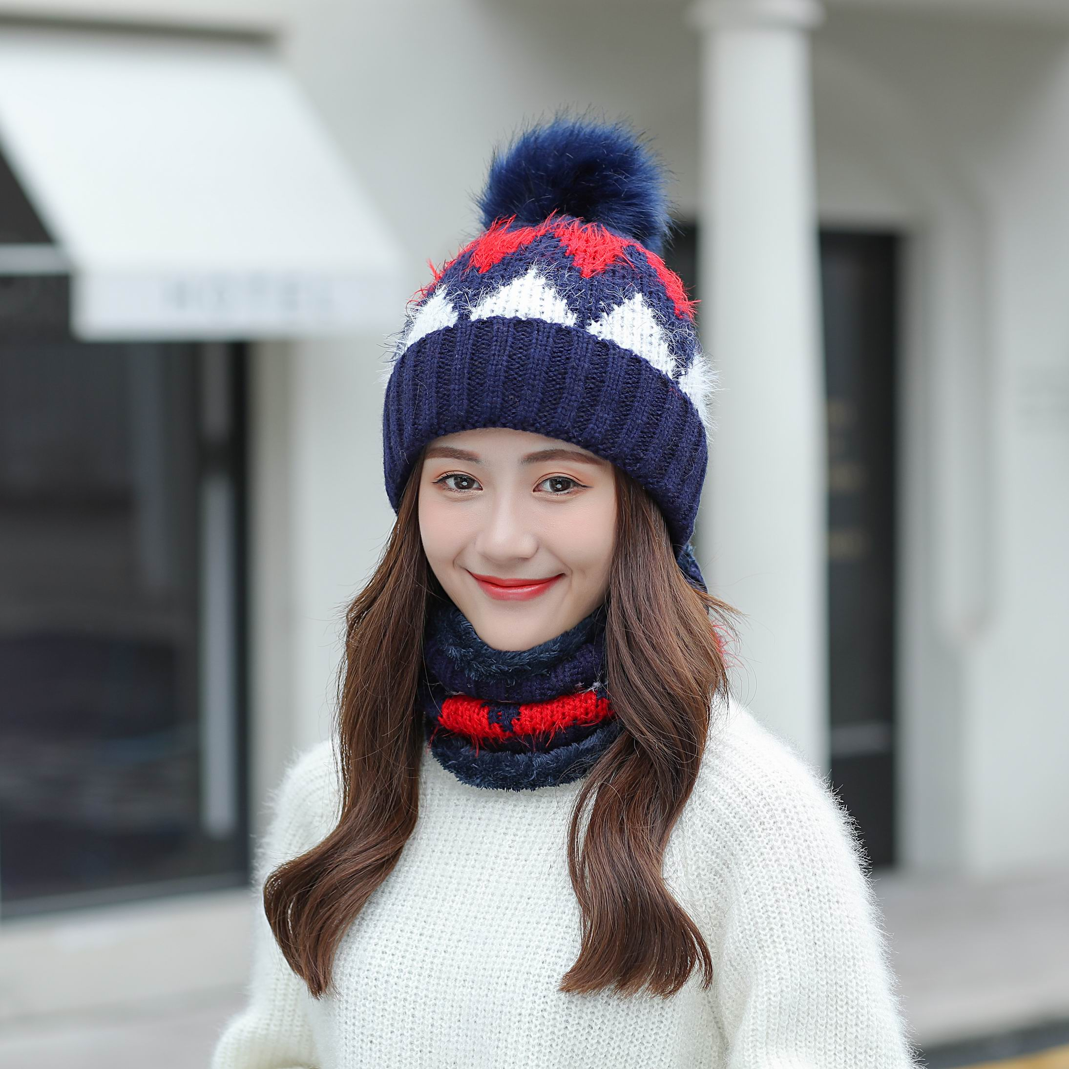 2020 High Quality Autumn Winter Women's Hat Set Knitted Wool Warm Cap Scarf Thick Windproof Balaclava Hat Scarf Set For Girls