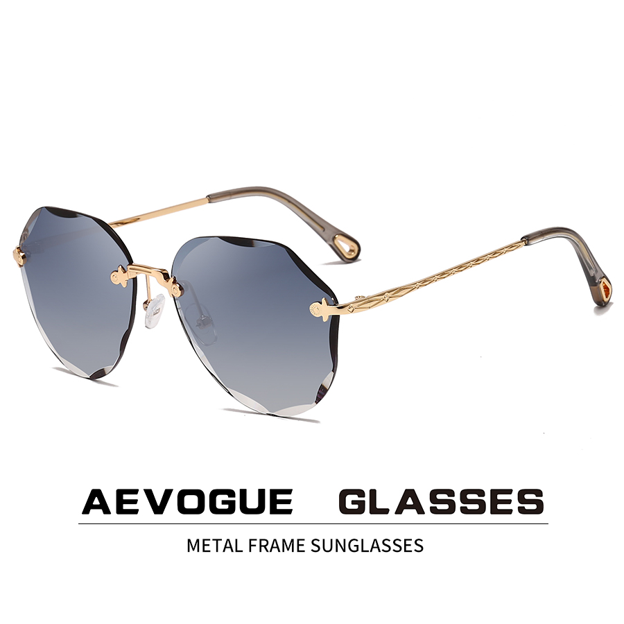 AEVOGUE Sunglasses For Women ladies Rimless Diamond cutting Lens Brand Designer Ocean Shades Vintage Sun Glasses AE0637 1