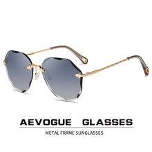AEVOGUE — Lunettes de soleil vintage pour femme, lentilles coupe diamant sans bords, marque de styliste, ombres d'océan AE0637