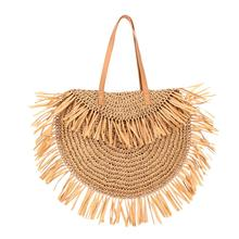 Women Beach Fringed Tassel Shoulder Bag Vintage Straw Rattan Handmade Woven Bags Summer Fashion Bohemian Handbag Travel Tote Bag недорого