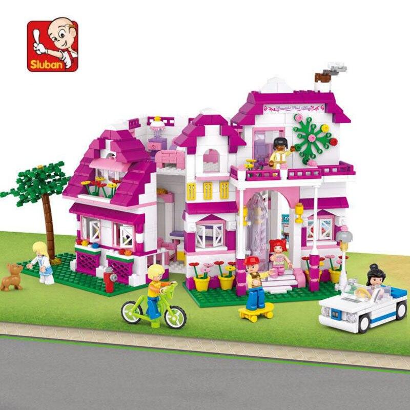 762 шт детские игровые блоки для дома пластиковые модели строительные наборы Legoed розовый стиль строительные блоки для девочек более 6 лет N0536