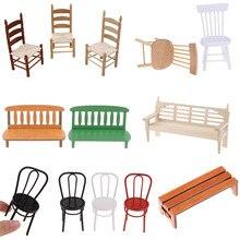 1:12 миниатюрная мебель для кукольного домика, белое деревянное кресло-качалка, стул, диван, сиденье из пеньковой веревки для кукольного доми...