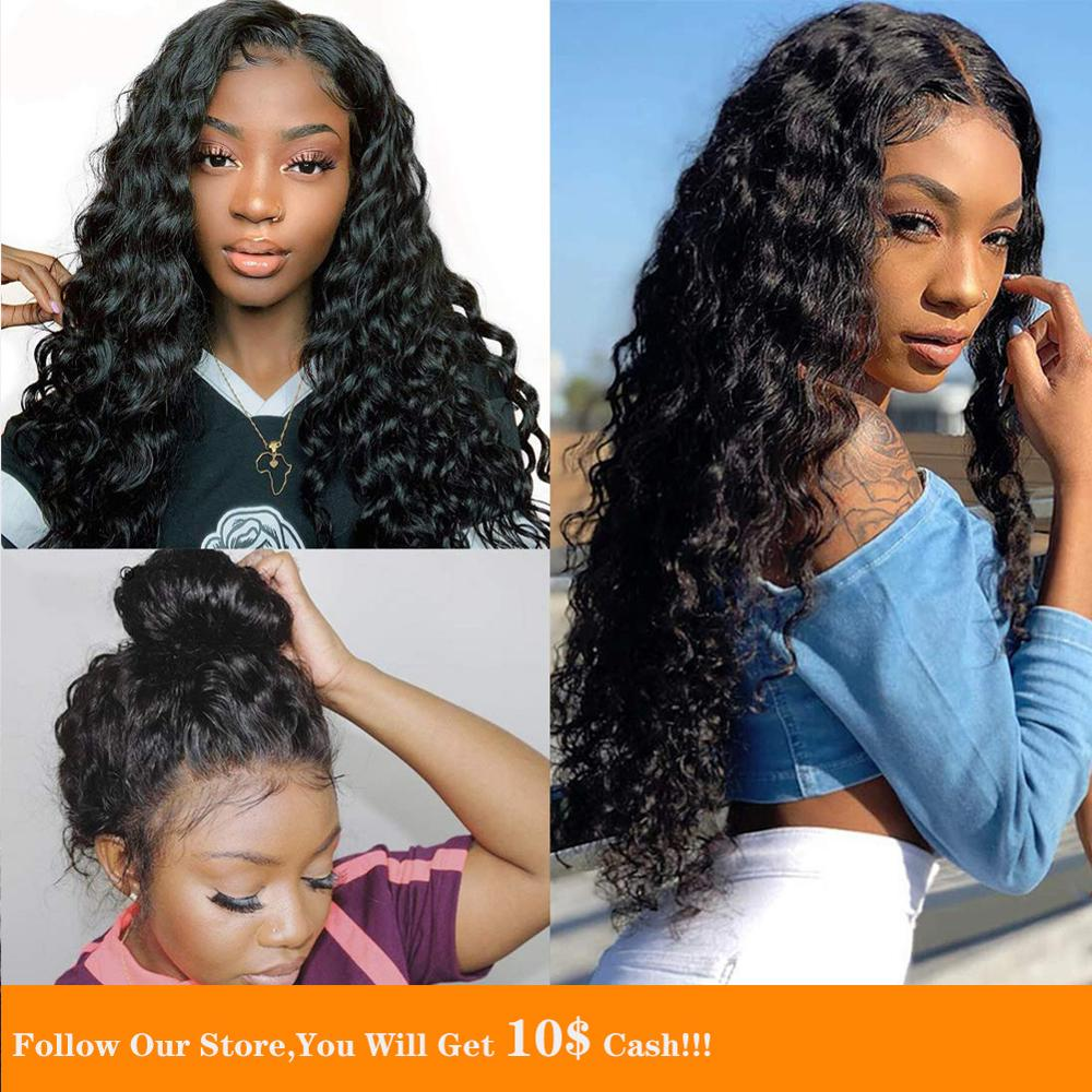 13x6 Long Black Loose Curly Lace Front Human Hair Wig Brazilian Remy Ponytail Natural Hair Wig Average OR Small Cap Size Women