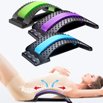 Back Massager Stretcher Fitness Massage Equipment Stretch Relax Stretcher Lumbar Support Spine Pain Relief Chiropractic Dropship neck back head massager stretcher cervical traction stretch gear brace device kit adjustment chiropractic pain relief relaxation