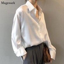 Yeni bahar Turn-down yaka kadın gömlek beyaz gevşek saten katı bluz kadınlar Tops Casual düğme ipek gömlek kadın blusas 11355