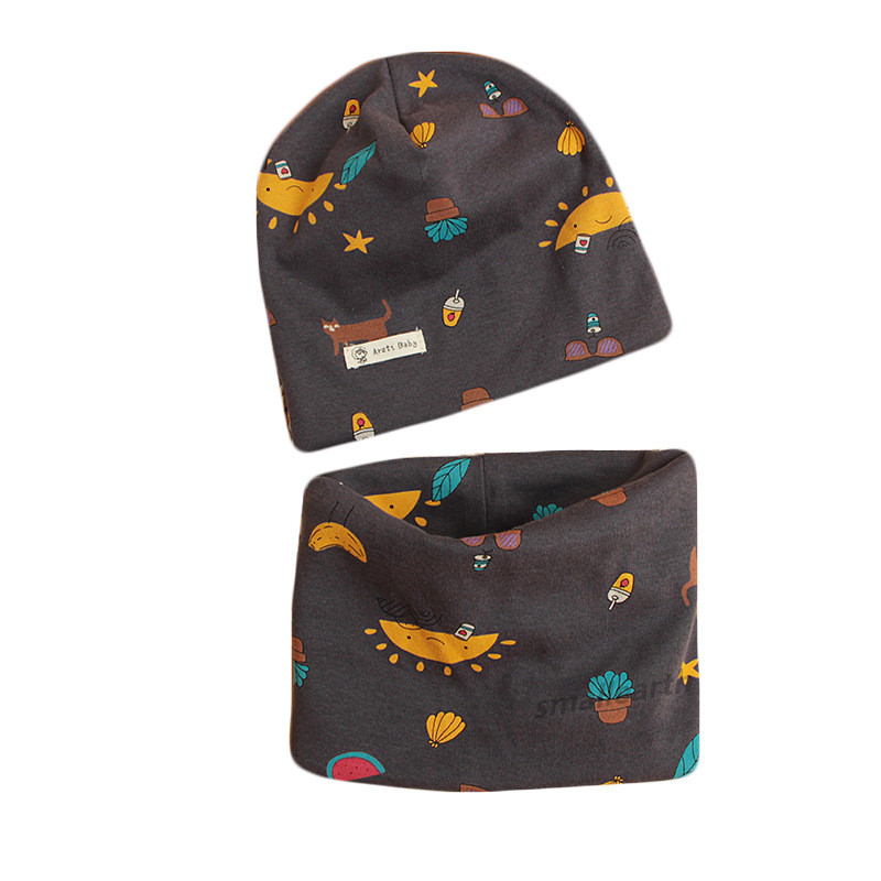 2019 Autumn Winter Children Cotton Hat Scarf Set Crochet Baby Hat Boys Caps Cartoon Baby Girls Cap Scarf Sets Child Hats Collar