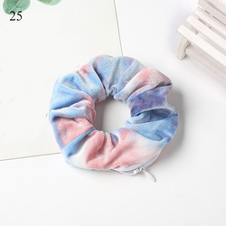 Soft Velvet Elastic Hair Scrunchie Solid Leopard Zipper Ponytail Holder Rubber Band Women Hair Ties Hair Accessories Headwear