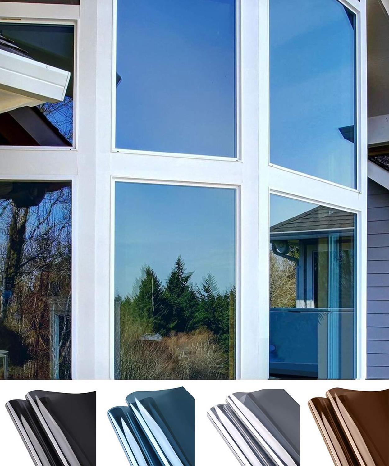 Window Privacy Film Sun Blocking Mirror Reflective Tint One Way, Heat Control Vinyl Anti UV Window Stickers for Home and Office