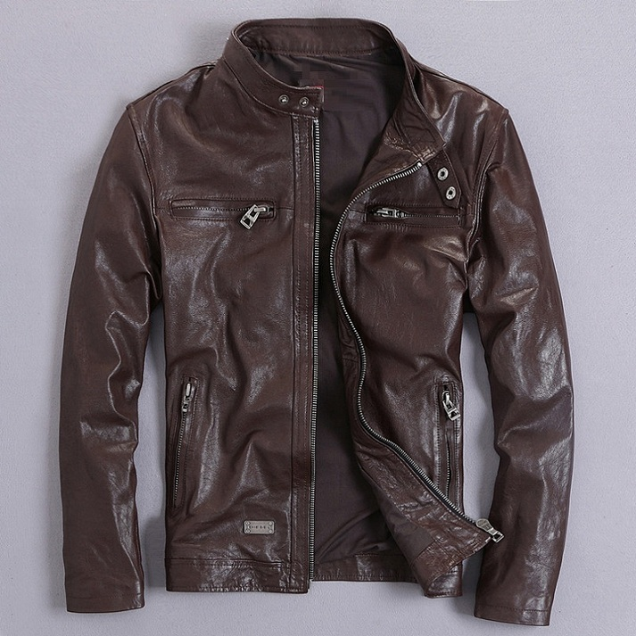 Free Shipping.Sales Quality Vintage Goathide Men Jackets,men's Genuine Leather Jacket,classic Motorcycle Biker.casual