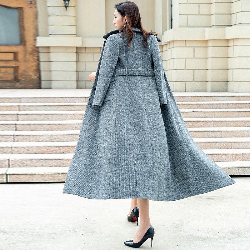 Plus Size Thick Warm Women Winter Coat Fashion Pocket Single Breasted Super Long Slim Women Woolen Coat Outwear G834