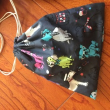 Bag Pouch Drawstring Cotton Gray Base Yi093c 1pc Multi-Purpose Twill Party-Gift Dogs