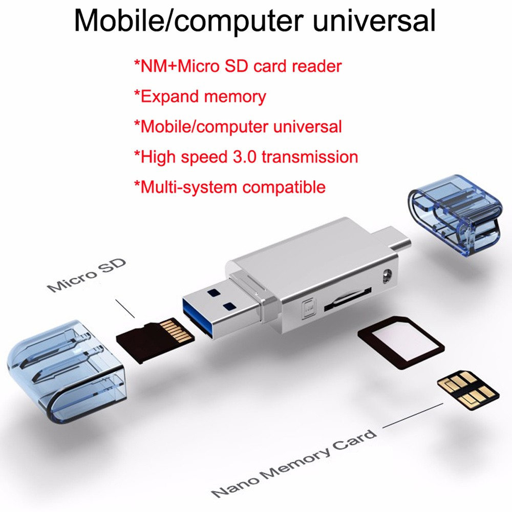 USB 3.1 Type-C 3 in1 OTG Card Reader TF SD MS for Huawei Mate 20 10 Pro Mate20
