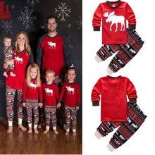 2020ชุดนอนคริสต์มาสครอบครัวชุดXmasกวางขนาดเล็กแม่ลูกสาวเสื้อผ้าแขนยาวเด็กชุดนอนชุดนอน