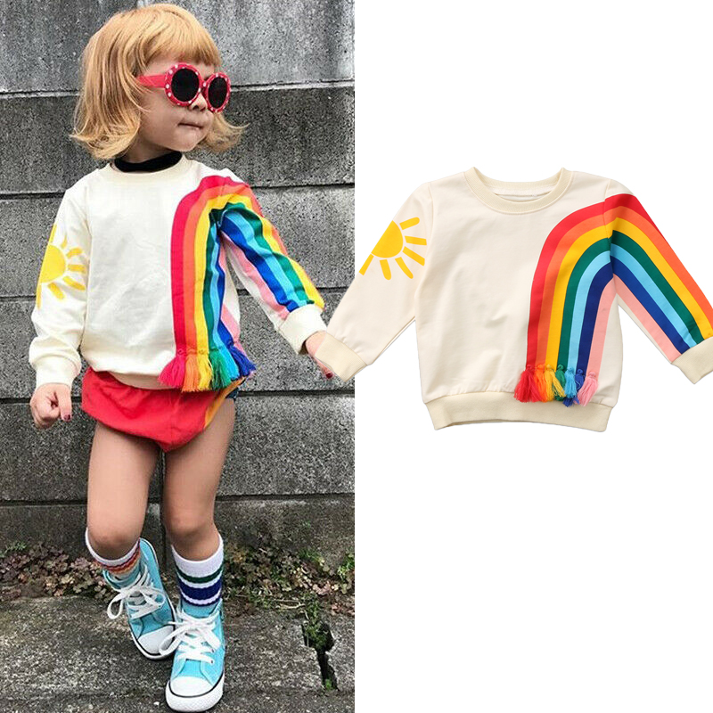 Spring Autumn Toddler Baby Girls Kids Sweatshirts Tops Long Sleeve Rainbow T-Shirt Sweatshirt Clothes Outfit 1-6Y
