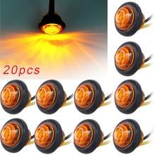 20 PCS Round Amber LED Light Front Rear Side Marker Indicators Light for Truck Bus Trailer