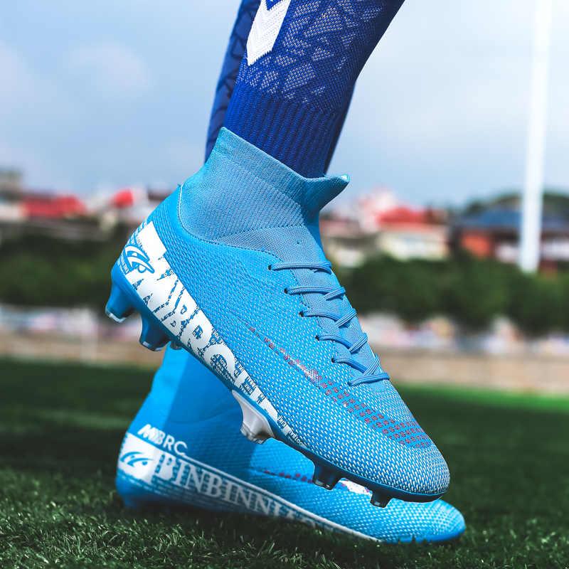 Zhenzu Ngoài Trời Bé Trai Đá Bóng TF/FG Bóng Đá Giày Cao Cổ Chân Trẻ Em Cleats Đào Tạo Giày Thể Thao Sneakers Size 35 -44