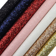 30x134cm Roll Red Black Blue Plain Dyed Chunky Glitter Fabric Leather For Bows Earring Home Decoration Bag DIY AY071