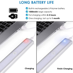 Image 3 - 3 צבע מצבים 20 LED אלחוטי PIR חיישן תנועת לילה אור תחת קבינט אור USB נטענת מגנטי מקל על הלילה אור