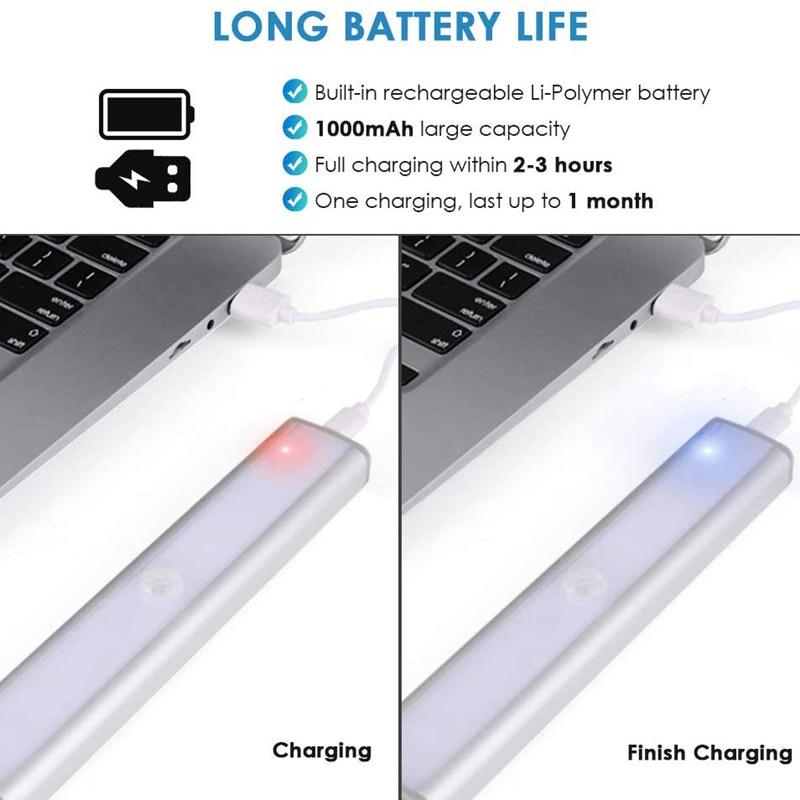 Image 3 - 3 Color Modes 20 LED Wireless PIR Motion Sensor Night Light Under Cabinet Light USB Rechargeable Magnetic Stick On Night LightLED Night Lights   -