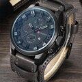 CURREN Мужские часы водонепроницаемые Топ бренд роскошный календарь модные мужские часы кожаные спортивные военные мужские наручные часы Пря...