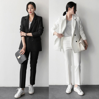 Work Fashion Pant Suits 2 Piece Set for Women Striped Blazer Jacket & Trouser Office Suit Lady  Formal 1