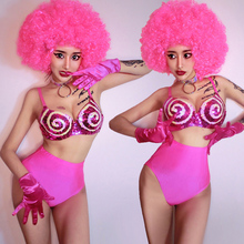 Sexy Pink Bikini Set Nightclub Bar DJ Female Singer Ds Pole Dancing Costume Ladi