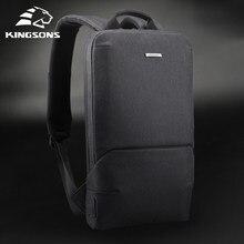 Kingsons novo fino 15 backpacks backpacks portátil mochilas homens mulheres negócios mochila escritório saco de trabalho unisex cinza ultraleve com usb