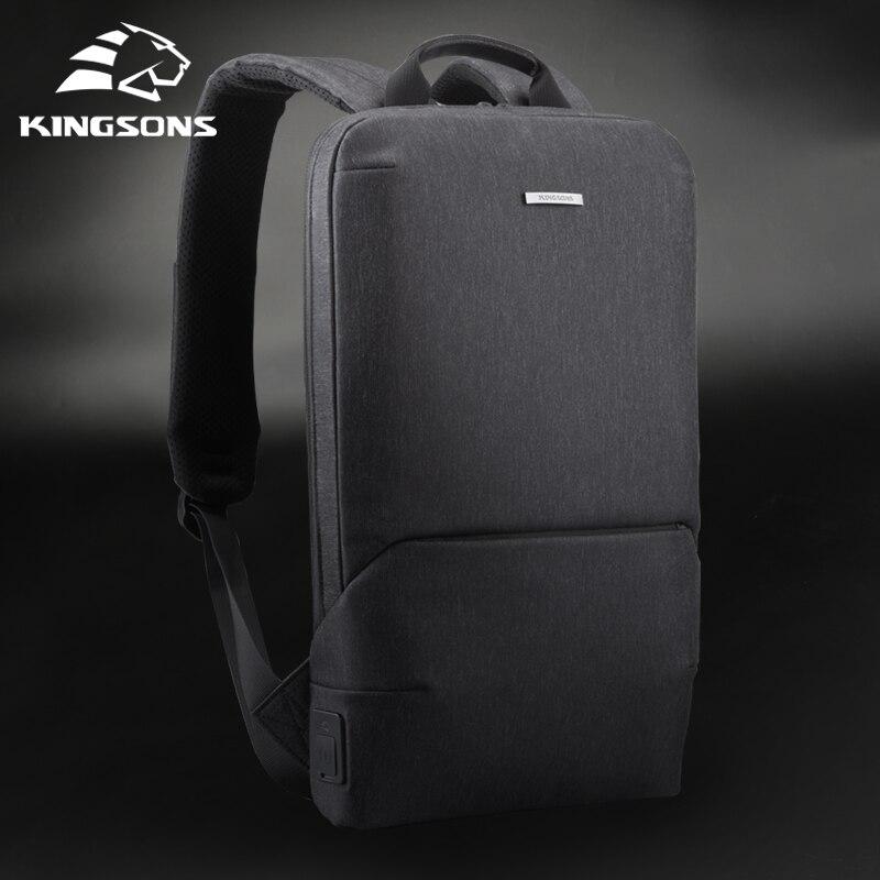 Kingsons novo fino portátil mochilas 15 men women homens mulheres mochila escritório trabalho saco de negócios unisex cinza ultraleve mochila com usb