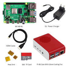 Fan Heatsink Power-Charger Sd-Card Hdmi-Cable Pi 4-Case Type-C 4-Model 4GB with