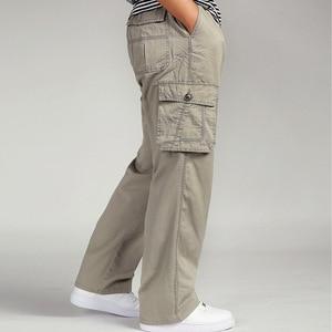 Image 4 - גברים מכנסיים מטען הכוללים גבר Loose עבודה מכנסיים צבאי צבא ירוק בתוספת גודל 4XL 5XL 6XL פועל חאקי ארוך בבאגי מכנסיים