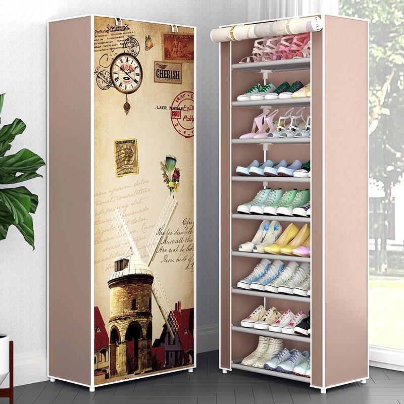 Многоуровневый шкаф для обуви, шкаф для хранения из нетканого материала, сборный держатель для обуви DIY, Простая подставка для экономии мест...