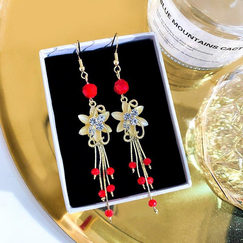 2019 nueva moda coreana sencilla pendientes largos Net Hongchao Xian elegantes pendientes borlas de flores pendientes femeninos|Pendientes con forma de gota|   - AliExpress