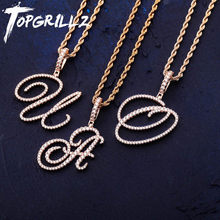 TOPGRILLZ Neue A-Z Cursive Briefe Name Anhänger & Halskette Iced Out Cubic Zirkon Gold Silber Farbe Charme Hip Hop Schmuck(China)