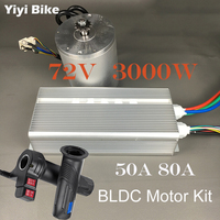 Electric Bicycle Conversion Kit DC Motor 72V 3000W Brushless Motor Controller With Reverse Twist Throttle For Electric Scooter