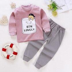 Primavera outono dos desenhos animados do bebê meninas roupas definir meninos menina em torno do pescoço manga longa calças terno infantil da criança manga longa conjunto