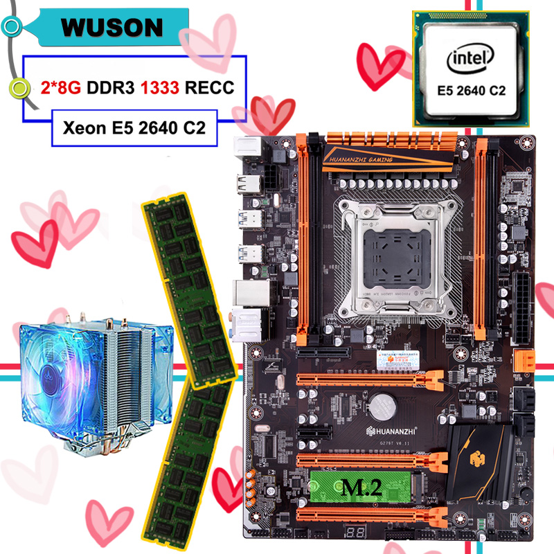 New arrival discount HUANANZHI X79 deluxe motherboard with M.2 NVMe slot CPU Intel Xeon E5 2640 with cooler RAM 16G(2*8G) RECC 1