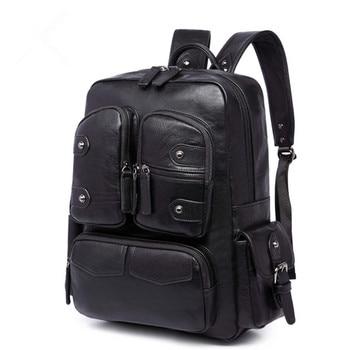 Large Capacity Mens Rivet PU Leather Backpack For Casual Men Daypacks Computer Travle Bag Schoolbag Business Luggage mochila