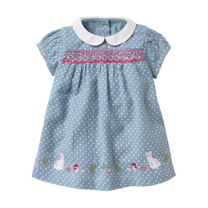 Little Maven Dress 2020 Summer Baby Girls Dress Rabbit Applique Children Clothes Brand Dress Kids Cotton Short Sleeve Dresses