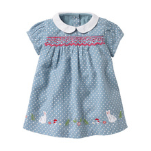 Little maven Dress 2020 Summer Baby Girls Dress Rabbit Applique Childr