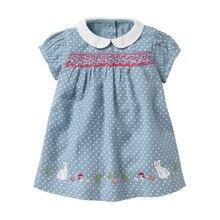 Little maven Dress 2021 Summer Baby Girls Dress Rabbit Applique Children Clothes Brand Dress Kids Cotton Short Sleeve Dresses